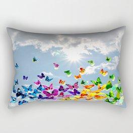 Butterflies in blue sky Rectangular Pillow