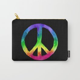 Rainbow Watercolor Peace Sign - Black Background Carry-All Pouch