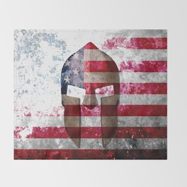 Molon Labe - Spartan Helmet Across An American Flag On Distressed Metal Sheet Throw Blanket