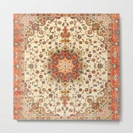N71 - Orange Antique Heritage Traditional Moroccan Style Mandala Artwork Metal Print