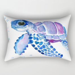 Blue Purple Sea Turtle, Turtle for nursery Rectangular Pillow