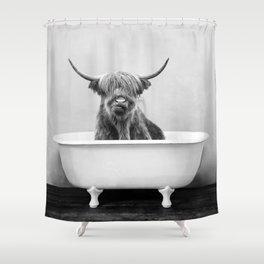 Highland Cow in a Vintage Bathtub (bw) Shower Curtain