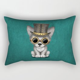 Steampunk Baby Wolf Cub on Blue Rectangular Pillow