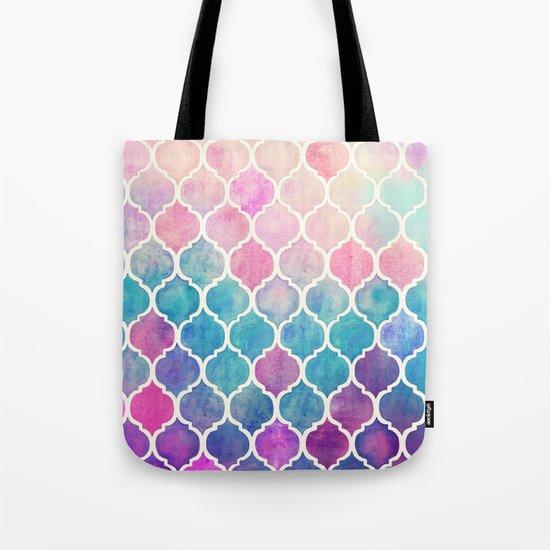 Rainbow Pastel Watercolor Moroccan Pattern Tote Bag