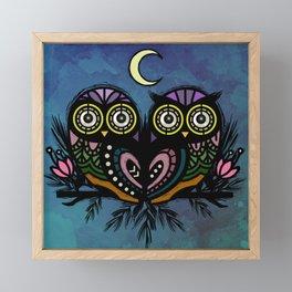 A Perfect Pair Of Midnight Moonlit Owls Framed Mini Art Print