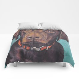 Chocolate lab LABRADOR RETRIEVER dog portrait painting by L.A.Shepard fine art Comforters