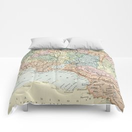 Vintage Map of Russia Comforters