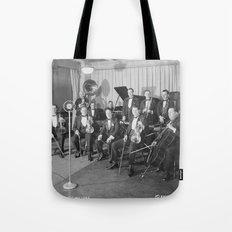 Vintage black and white photo of orchestra Tote Bag