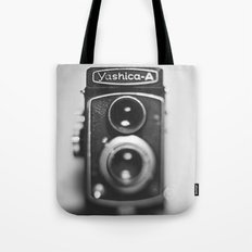 Yashica-A black and white Tote Bag