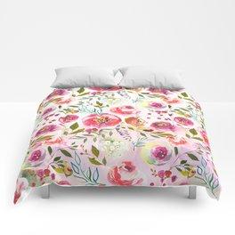 blush pink peonies watercolor fuchsia flowers Comforters