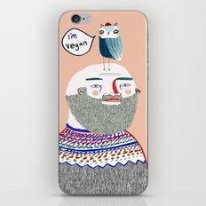 I'm Vegan. Vegan art, vegan, illustration, funny, vegan print iPhone & iPod Skin