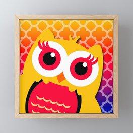 Big Owl & Colorful Quatrefoil Background Framed Mini Art Print