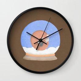 Sleeping Fox in A Snow Globe Wall Clock