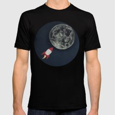 Rocket to the Moon MEDIUM Black Mens Fitted Tee