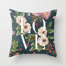LOVE // Floral Typography Throw Pillow