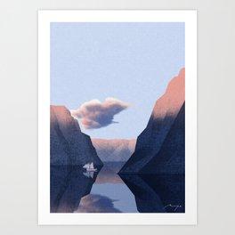 Winter fjord Art Print