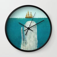 mega man Wall Clocks featuring The Whale  by Terry Fan