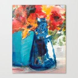 Bright Cobalt and Orange Floral  Canvas Print