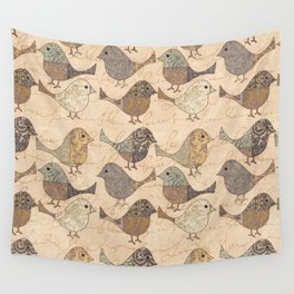Nostalgic Autumn Patchwork Bird Pattern in warm retro colors #autumndecoration Wall Tapestry