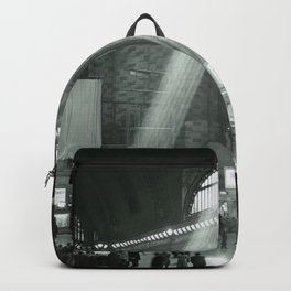 Grand Central Station, Rays of Sunlight spilling in terminal, New York City black and white photograph Backpack