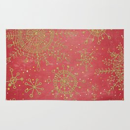 Red and Gold Snowflakes Rug