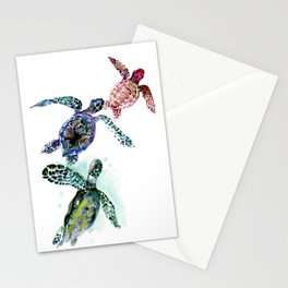 Sea Turtle Family, family art Stationery Cards