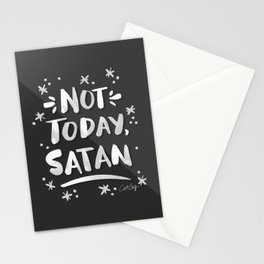 Not Today, Satan – White Ink on Black Stationery Cards