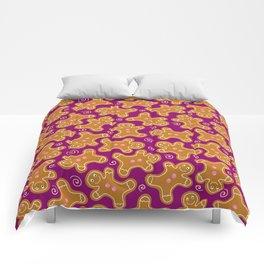 Gingerbread Men on Purple Comforters