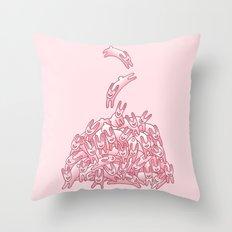 Pink Rabbits Throw Pillow