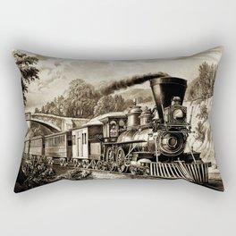 Vintage steam train illustration Rectangular Pillow