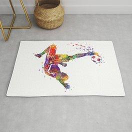 Bicycle Kick Boy Soccer Player Colorful Watercolor Art Striker Gift Football Player Gift Rug