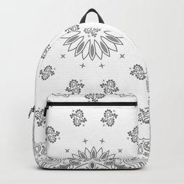 Bandana - White & Grays - Southwestern - Paisley Backpack