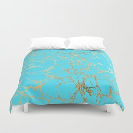 Modern aqua elegant faux gold foil marble pattern Duvet Cover