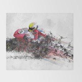High Speed Motorcycle Racer Throw Blanket