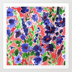 Isla Floral Orange Art Print