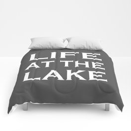 Life At The Lake - Grey and White Comforters