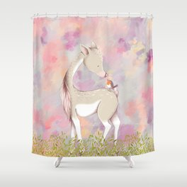 Baby Deer With Bird Nursery Decor Watercolor Painting Shower Curtain