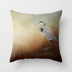 Heron At The Inlet Throw Pillow