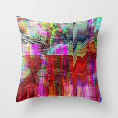 Doodle Glitch Throw Pillow