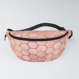 Coral and Gold Hexagonal Geometric Pattern Fanny Pack