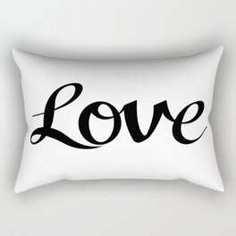 Love Cursive Script Black Rectangular Pillow