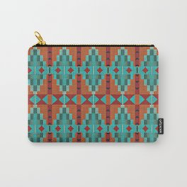 Orange Red Aqua Turquoise Teal Native Mosaic Pattern Carry-All Pouch