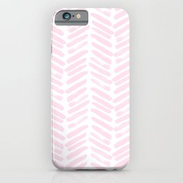 Handpainted Chevron pattern light pink stripes iPhone Case