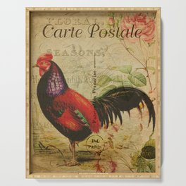 Vintage Post Card French Rooster Serving Tray