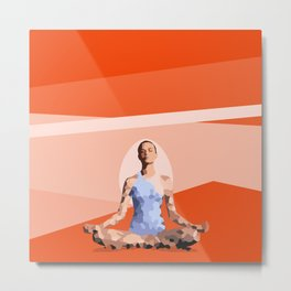 Feminine energy. A woman meditates in the Lotus position. Abstract orange painting. Metal Print