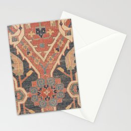Geometric Leaves IV // 18th Century Distressed Red Blue Green Colorful Ornate Accent Rug Pattern Stationery Cards