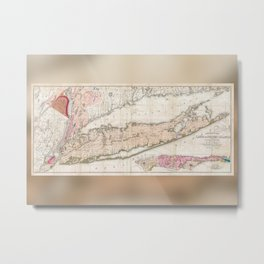 1842 Map of Long Island Metal Print