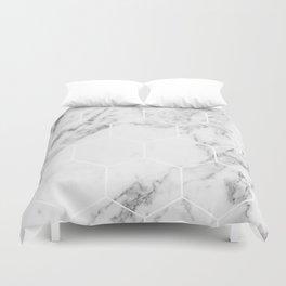 White marble hexagonal beehive Duvet Cover