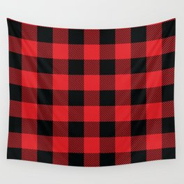 Buffalo Plaid Christmas Red and Black Check Wall Tapestry