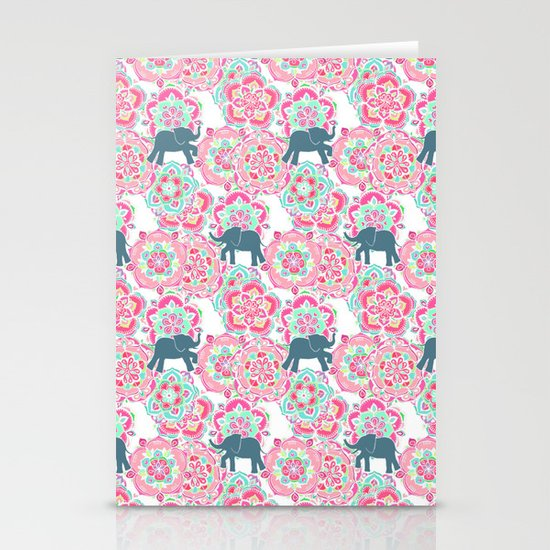 Tiny Elephants in Fields of Flowers Stationery Cards